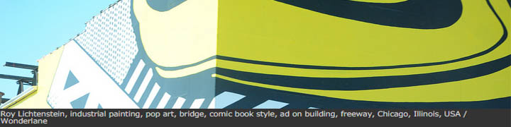 Roy Lichtenstein, industrial painting, pop art, bridge, comic book style, ad on building, freeway, Chicago, Illinois, USA