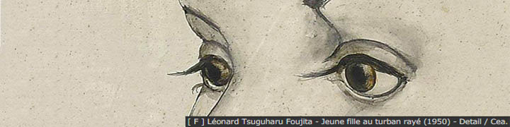 [ F ] Leonard Tsuguharu Foujita -  Jeune fille au turban raye (1950) - Detail